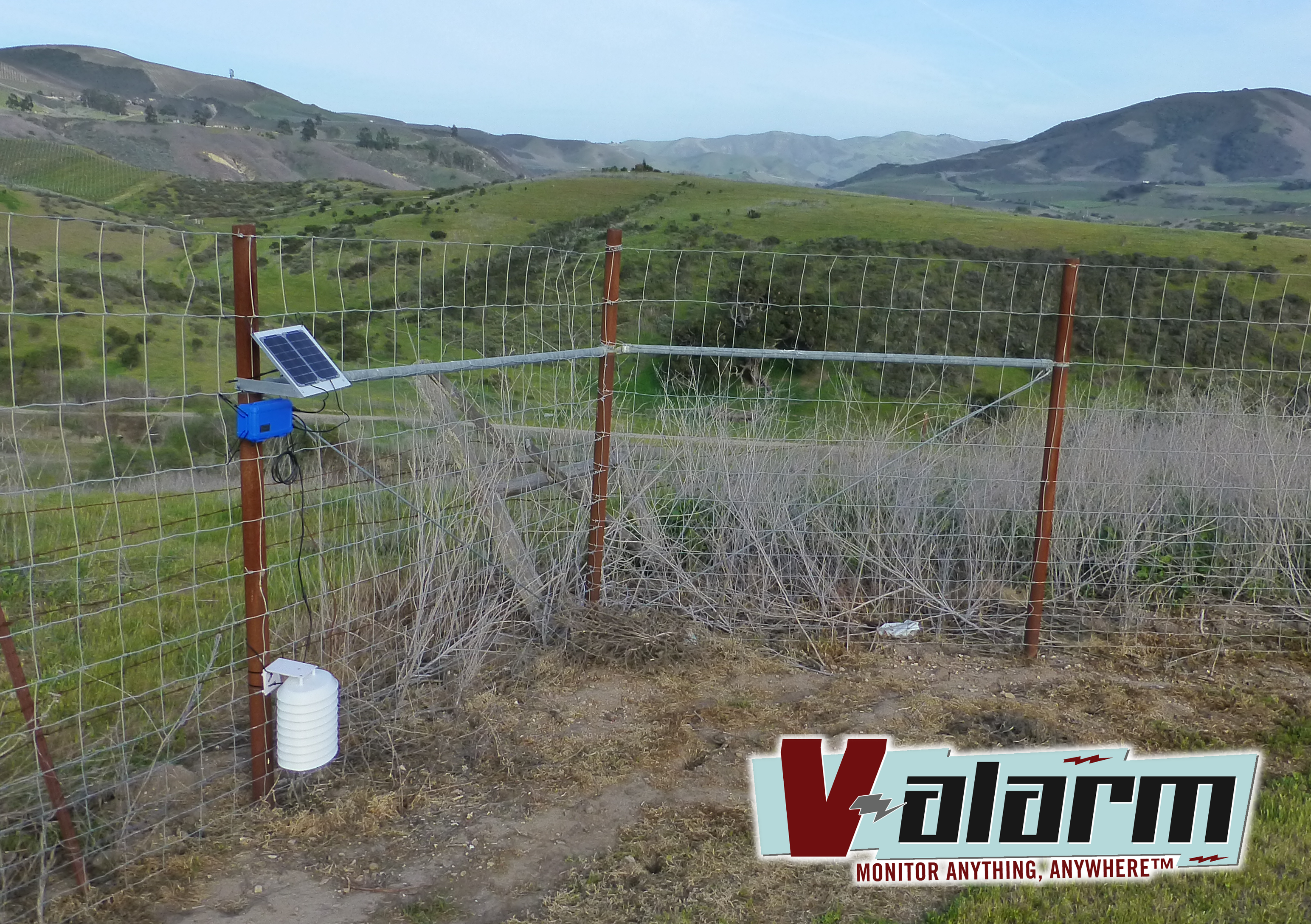 A solar-powered Valarm unit with Yocto-Meteo sensor monitors a remote vineyard.