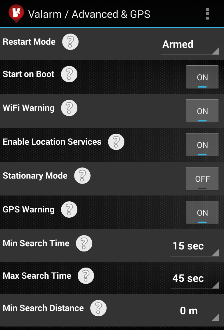 Valarm Screenshot Advanced GPS Settings Start On Boot Restart Mode