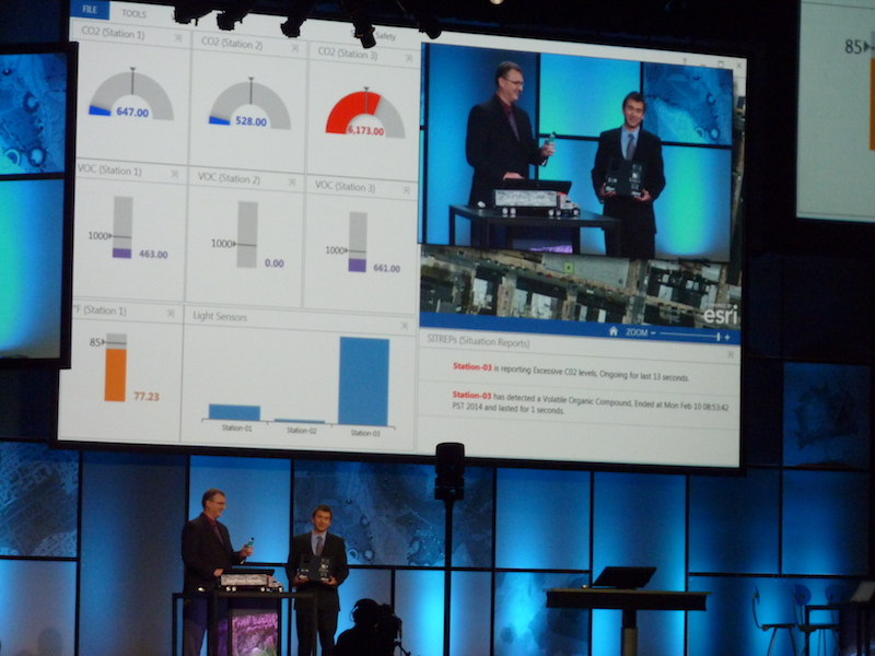 Edward from Valarm presenting real-time sensor networks with the Esri GeoEvent Processor team in the keynote plenary at the Esri Federal GIS Conference 2014