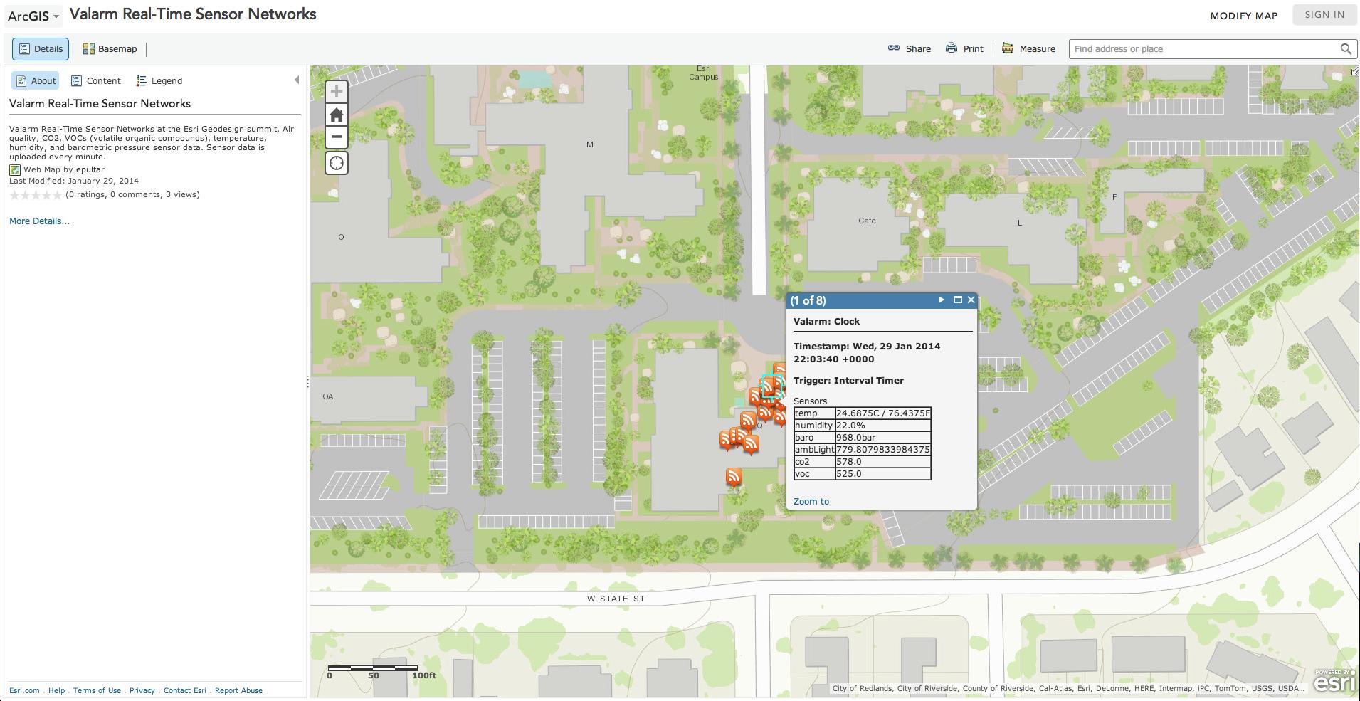 Valarm Real Time Sensor Data in arcgis.com at esri geodesign
