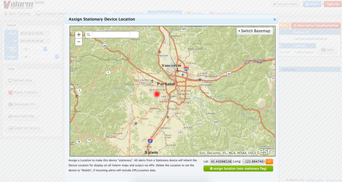 Valarm Tools Cloud Device Manager Details Set Assign Stationary Device Location Esri ArcGIS Platform Maps