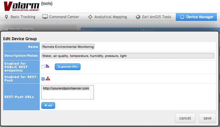 Valarm Tools Cloud Device Manager JSON API REST-Push URLs Endpoint Server