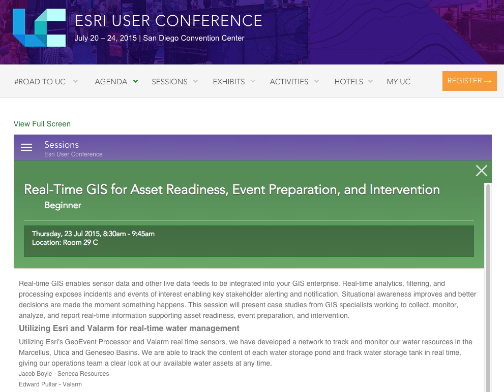 Valarm Seneca Presentation Esri UC 2015 real-time gis for asset readiness event preparation realtime water management upstream oil natural gas water levels storage tanks remote environmental monitoring