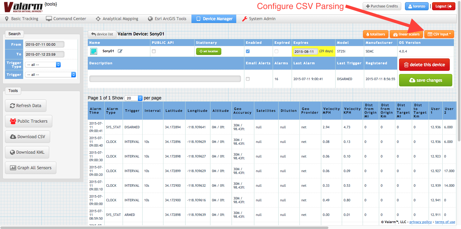 Valarm Tools Cloud Configure CSV Input Example for Campbell Scientific CR200X Sensor Data Logger - 1