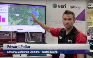 Valarm Esri UC 2015 Edward Pultar PhD Sensor Monitoring Solutions Real-Time GIS Demo Telemetry Geobuiz Interview Video 1