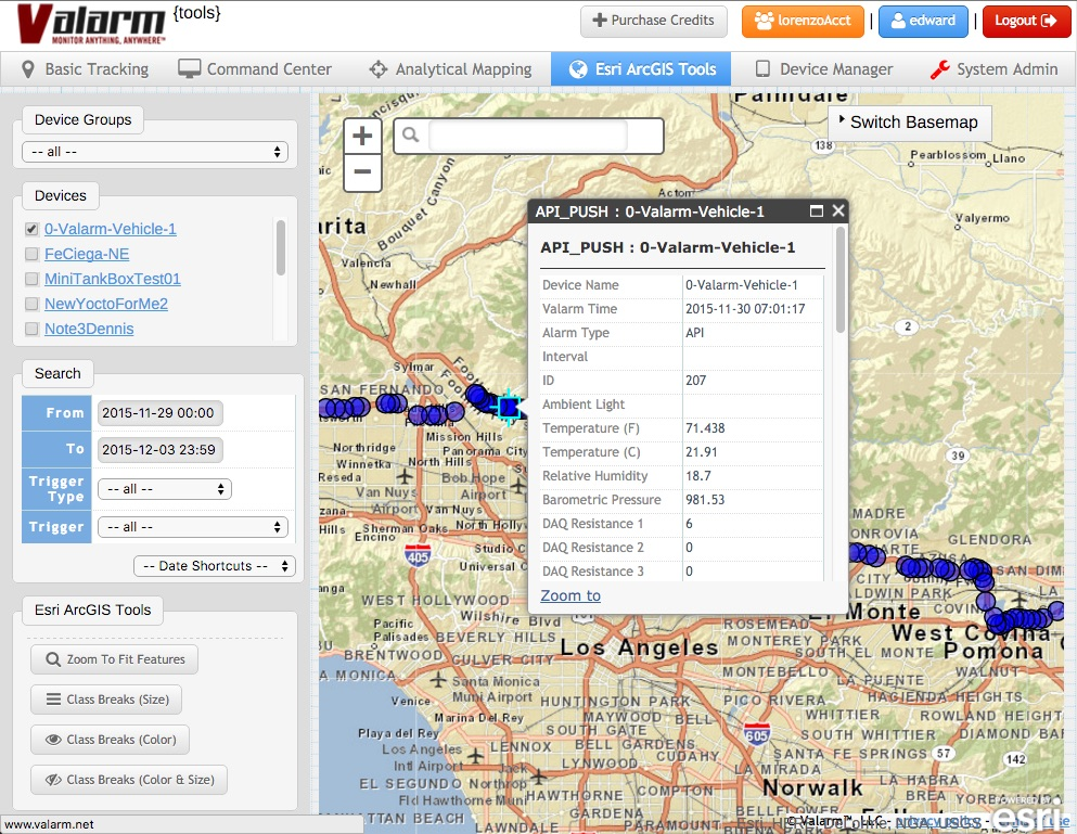 Valarm Tools Cloud Fleet Vehicle Truck Trailer Telemetry Tracking Sensors Tire Pressure TPMS Rollover GPS Doors Open Closed Cargo Presence Liquid Water Spill Esri ArcGIS GIS Map 5