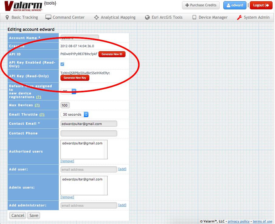 Valarm Tools Cloud API Key ID Device Groups Sensors Industrial IoT 3-3