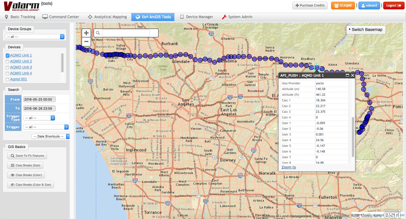 Valarm Industrial IoT Remote Monitoring Sensor Telemetry Air Quality Boxes for California Government Valarm Tools Cloud Esri Map tools.valarm.net 5