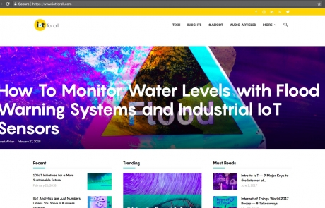 Water Level Monitoring and Flood Warning Systems with Industrial IoT Sensors Connected to Tools.Valarm.net