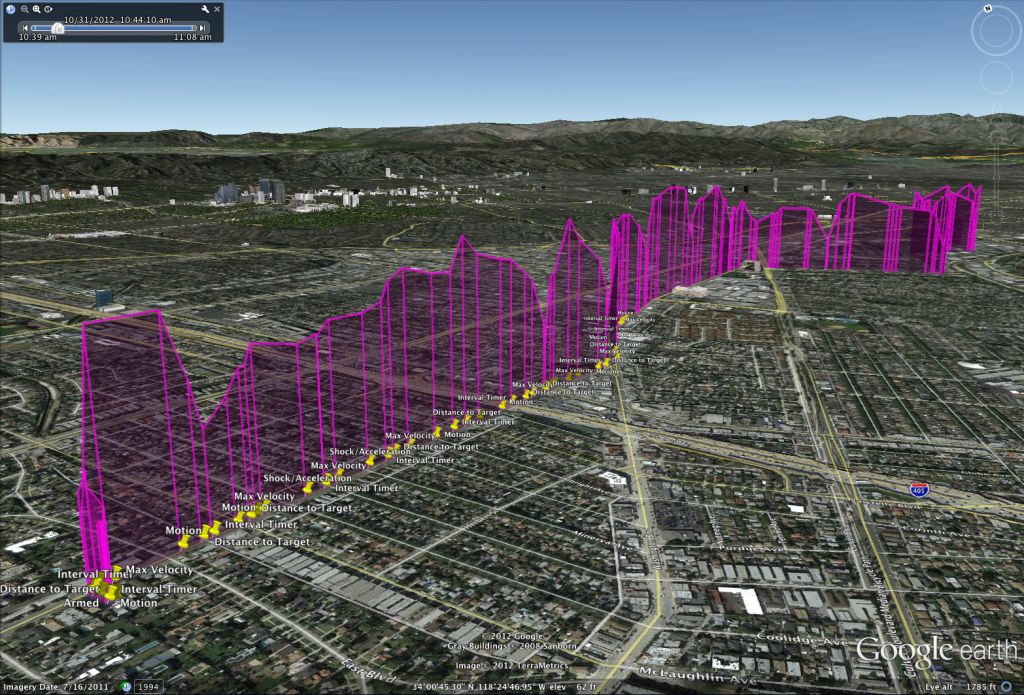 Screenshot of Valarm data in Google Earth.