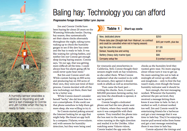 Valarm Bailing Hay Sensor Monitor Humidity Temperature - Progressive Forage Grower Magazine January 2014