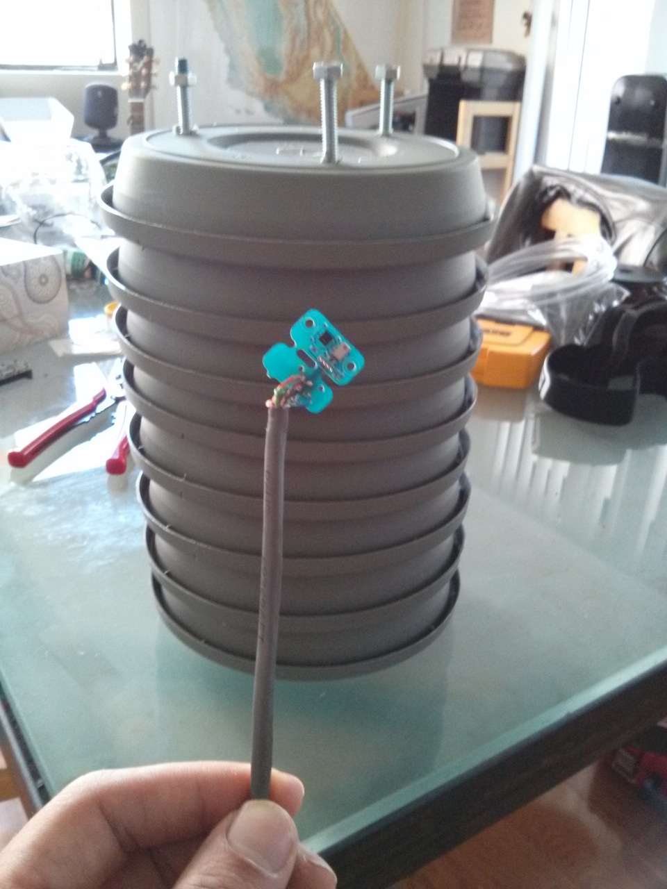 DIY pagoda for Valarm deployment with Yocto-Meteo weather sensor.