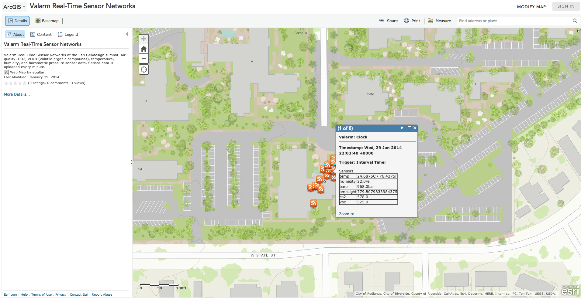 Valarm Real Time Sensor Data in arcgis.com at esri geodesign