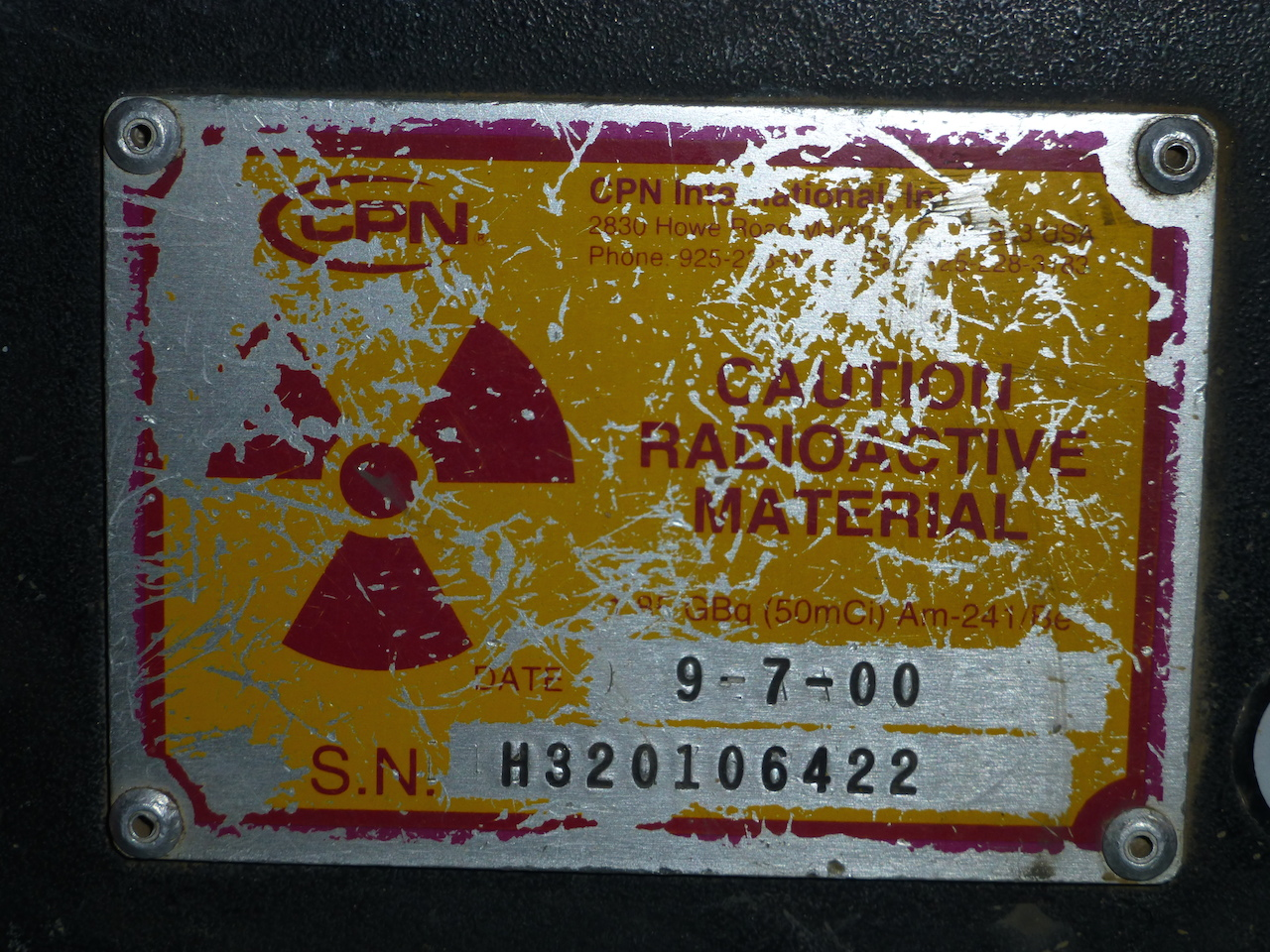 Neutron Probe Caution Radioactive Material Sign smaller