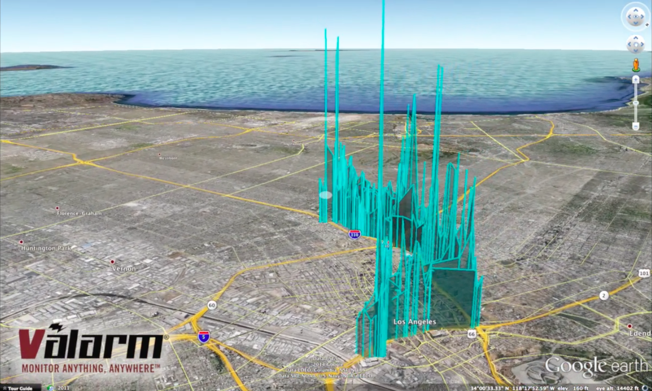 Valarm Air Quality VOC Sensor Deployed on Public Transit Los Angeles California Bus 3D Earth Screenshot