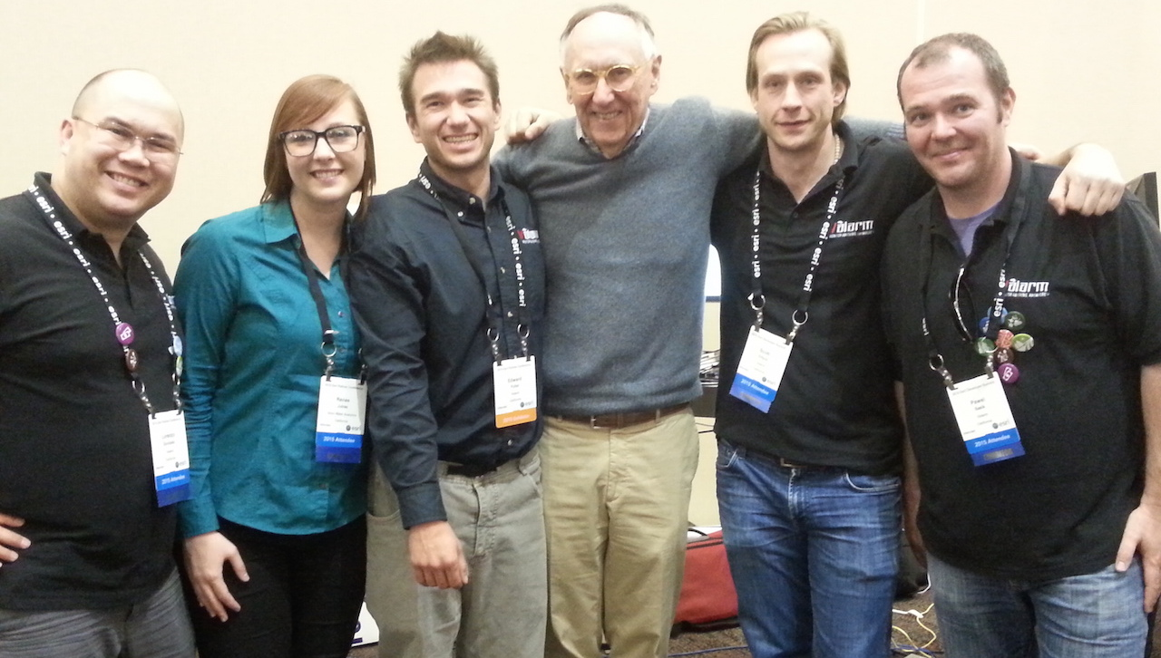 Valarm with Jack Dangermond at Esri Partner Conference Dev Summit 2015 Palm Springs California