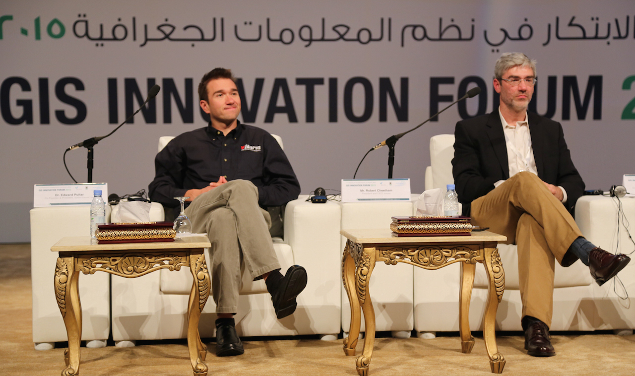 valarm-remote-environmental-monitoring-edward-pultar-on-stage-keynote-qanda-gis-innovation-forum-2015-makkah-saudi-arabia-middle-east