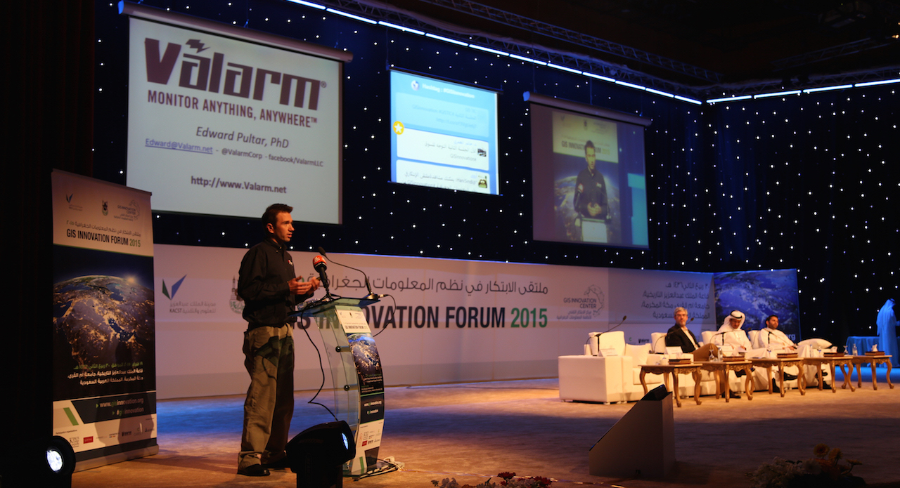 valarm-remote-environmental-monitoring-edward-pultar-on-stage-keynote-whole-stage-gis-innovation-forum-2015-makkah-saudi-arabia-middle-east