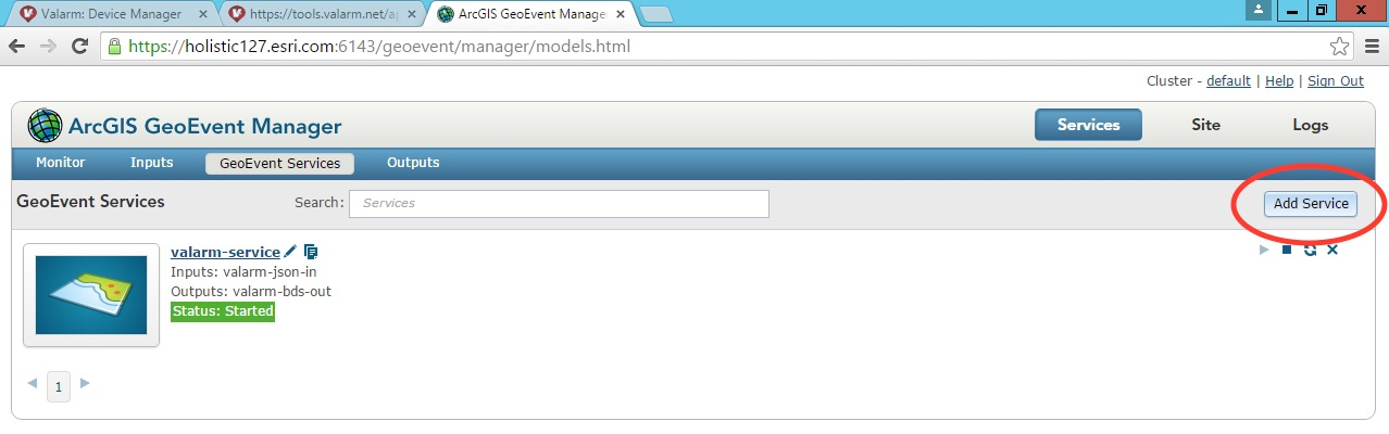Valarm Sensors Remote Monitoring With Esri GeoEvent Extension ArcGIS Server Add Service GeoEvent Services - 7