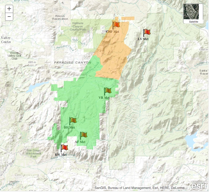 Valarm Tools Cloud Web Dashboards for Remotely Monitoring Fire Risk + Weather Sensors in Southern California on Esri Maps 6