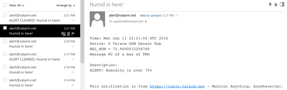 Email Alerts for Industrial IoT Applications with Valarm Tools Cloud Remote Monitoring Telemetry 5