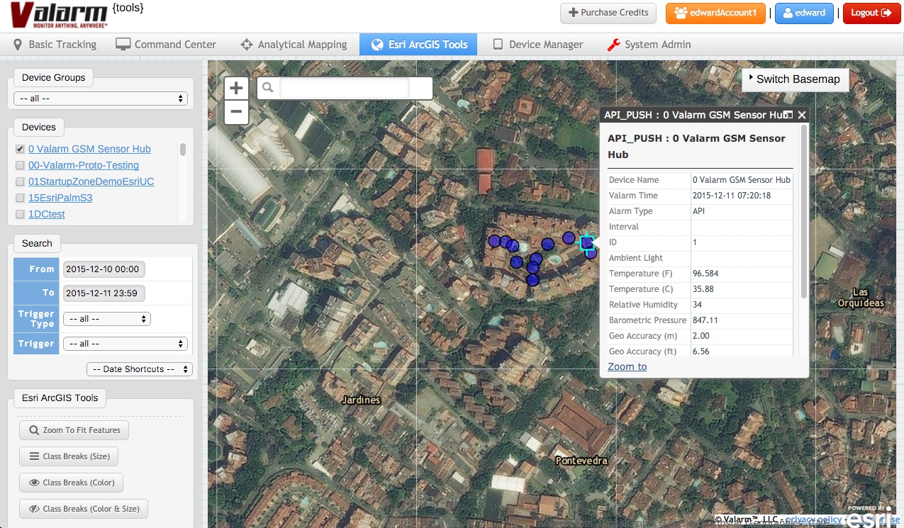 Industrial IoT Applications - Valarm Tools Cloud Yoctopuce GSM Hub Esri Map Medellin Colombia