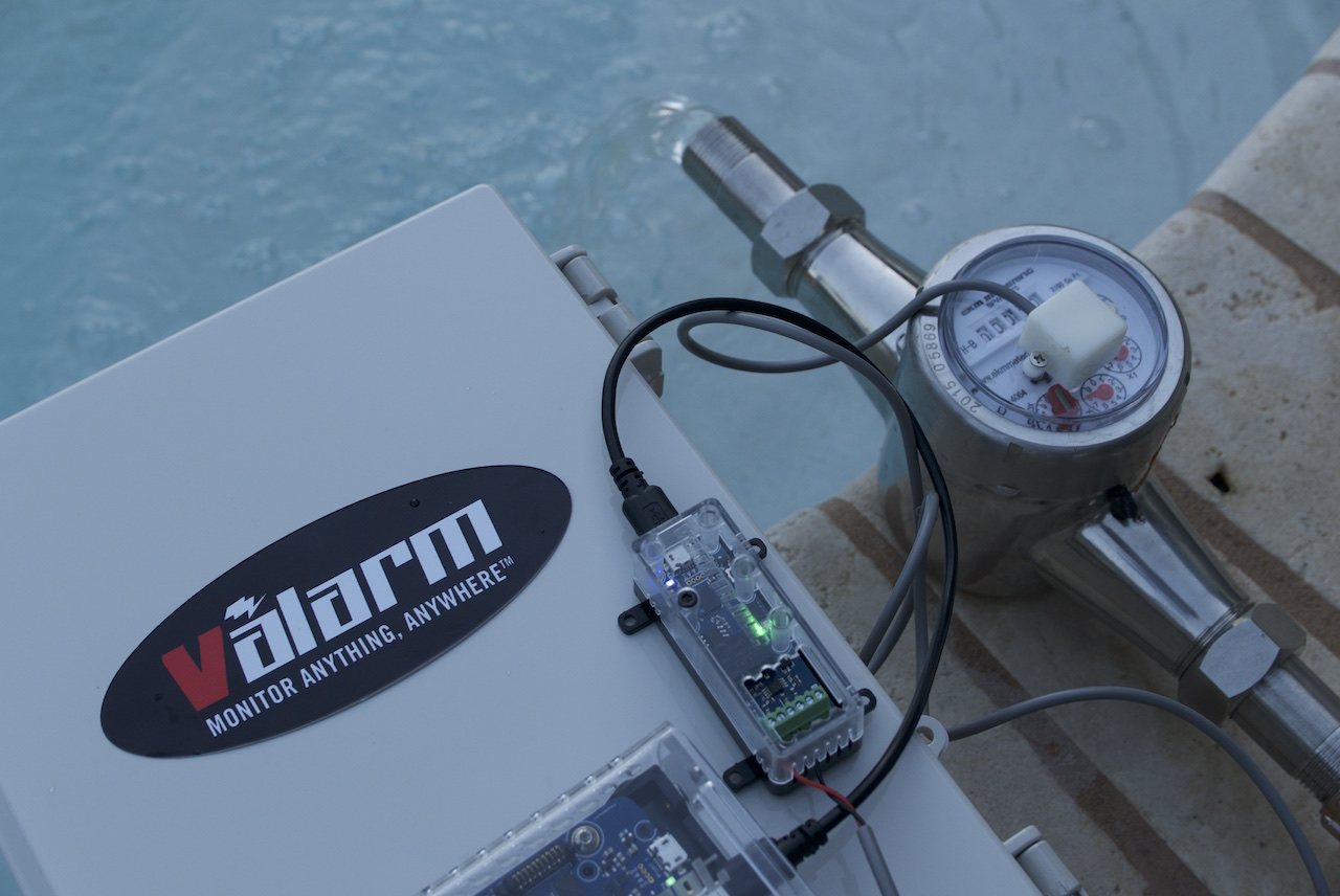 Valarm Water Usage Flow Meter Garden Hose Swimming Pool Demo Industrial IoT Remote Monitoring Telemetry