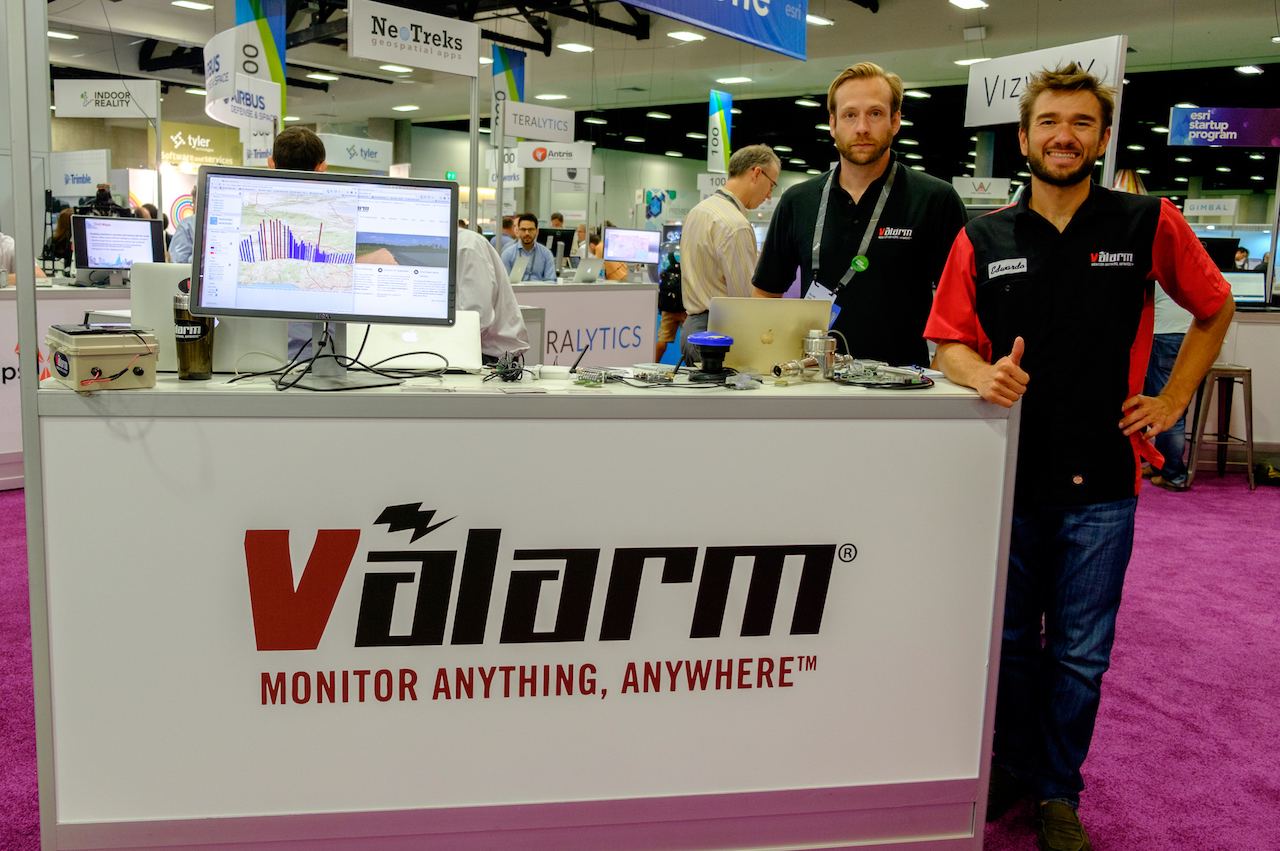 Valarm IIoT Industrial IoT Remote Monitoring Sensor Telemetry Esri ArcGIS UC GIS 2016 Valarm Booth Monitor Water and Air Quality