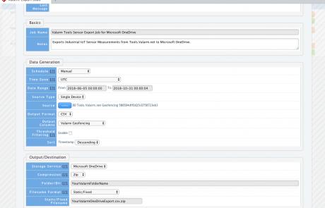 IoT Sensor Data Export Jobs for Microsoft One Drive